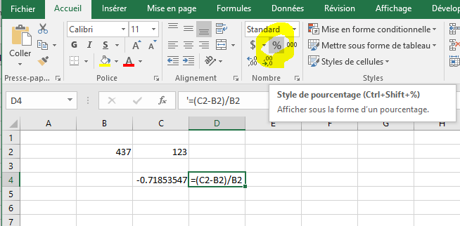 formule du taux de variation