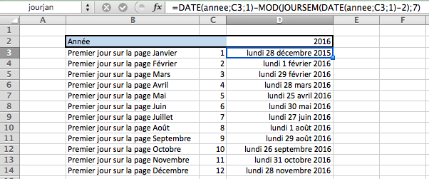 comment cr er un calendrier 2018 avec excel tutoriels forum formule excel. Black Bedroom Furniture Sets. Home Design Ideas
